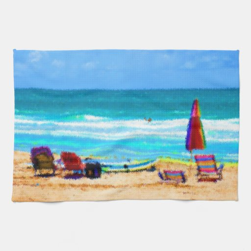 beach scene painterly chairs surfboards umbrellas kitchen towels