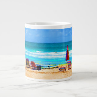 beach scene painterly chairs surfboards umbrellas large coffee mug
