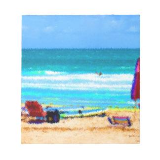 beach scene painterly chairs surfboards umbrellas notepad