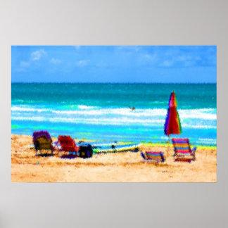 beach scene painterly chairs surfboards umbrellas poster