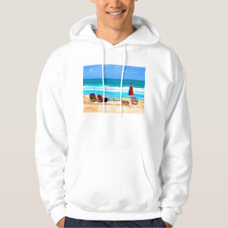 beach scene painterly chairs surfboards umbrellas pullover