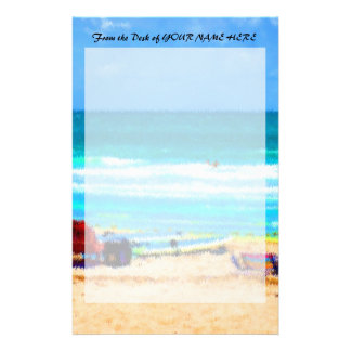 beach scene painterly chairs surfboards umbrellas stationery