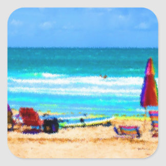 beach scene painterly chairs surfboards umbrellas square sticker