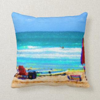 beach scene painterly chairs surfboards umbrellas throw pillow
