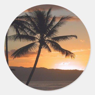 beach scene palm trees sticker