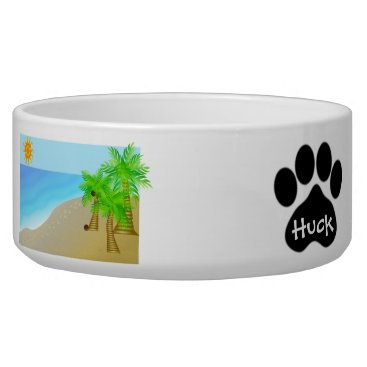 Beach Themed Beach Scene Paw Prints pet bowl