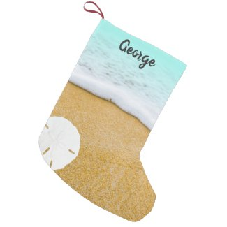 Beach Scene Sand Dollar Double Christmas Stocking