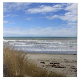 Beach Scene, sand, sea and blue sky Ceramic Tile