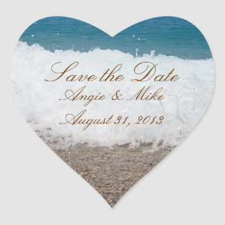 Beach Scene Save the Date Wedding Stickers