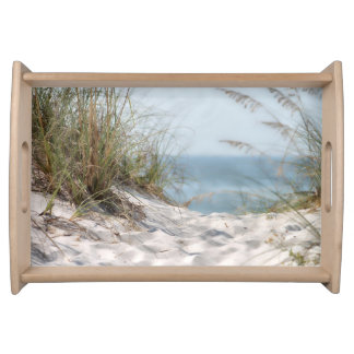 Beach scene serving tray. serving tray