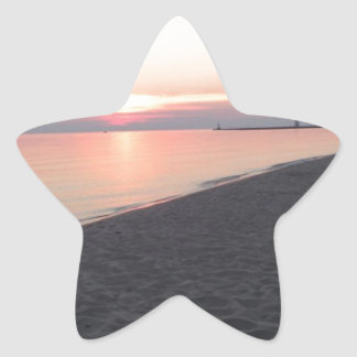 Beach Scene Star Sticker