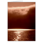 Beach Scene -Stars Dancing on the Water -Sepia Stationery Note Card