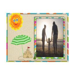 Beach Scene, Sun, Sand, Sandcastle Photo Template Canvas Print
