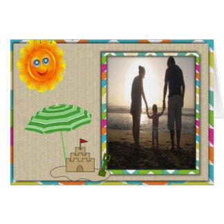 Beach Scene, Sun, Sand, Sandcastle Photo Template Card