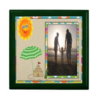 Beach Scene, Sun, Sand, Sandcastle Photo Template Jewelry Box