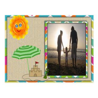 Beach Scene, Sun, Sand, Sandcastle Photo Template Postcard