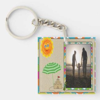Beach Scene, Sun, Sand, Sandcastle Photo Template Single-Sided Square Acrylic Keychain
