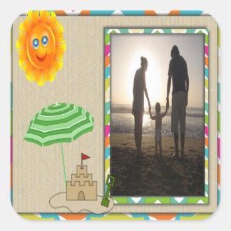 Beach Scene, Sun, Sand, Sandcastle Photo Template Square Sticker