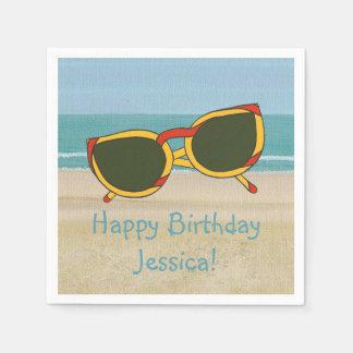 Beach Scene Sunglasses Name Birthday Napkins Standard Cocktail Napkin