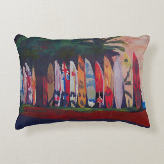 Beach Scene Surf Board Fence Wall at the Seaside Accent Pillow