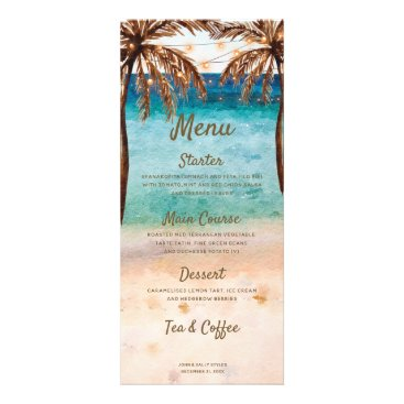 Beach scene tropical wedding party menu