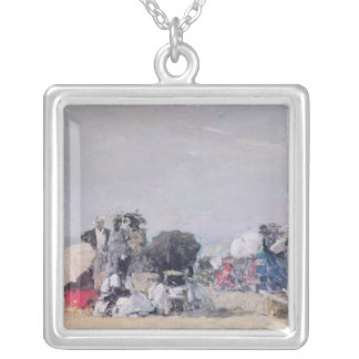 Beach Scene, Trouville, 1873 Silver Plated Necklace