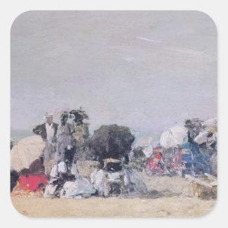 Beach Scene, Trouville, 1873 Square Sticker