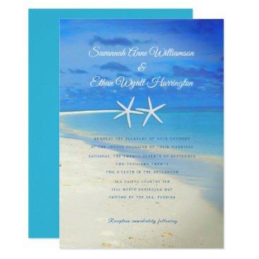Beach Themed Beach Scene White Starfish Wedding Invitation