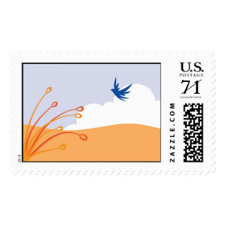 Beach scene with bird postage