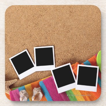 USA Themed Beach scene with blank photo prints, towel, beverage coaster