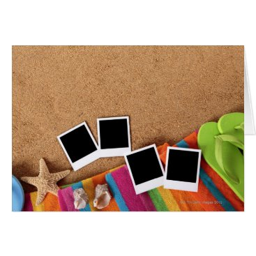 USA Themed Beach scene with blank photo prints, towel, card