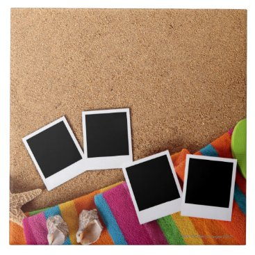 USA Themed Beach scene with blank photo prints, towel, ceramic tile
