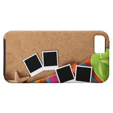 USA Themed Beach scene with blank photo prints, towel, iPhone SE/5/5s case
