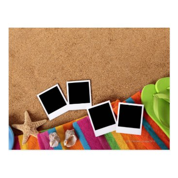 USA Themed Beach scene with blank photo prints, towel, postcard