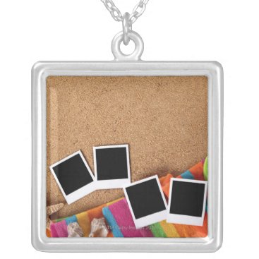 USA Themed Beach scene with blank photo prints, towel, silver plated necklace