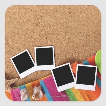USA Themed Beach scene with blank photo prints, towel, square sticker
