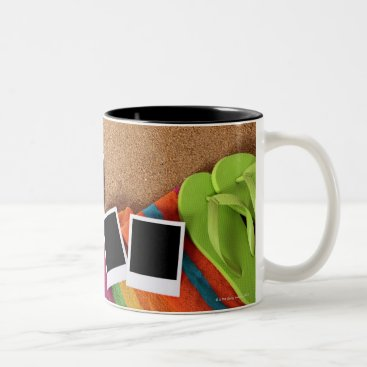 USA Themed Beach scene with blank photo prints, towel, Two-Tone coffee mug