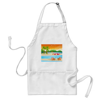 Beach scene with chairs and umbrella adult apron
