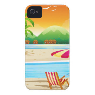 Beach scene with chairs and umbrella Case-Mate iPhone 4 case