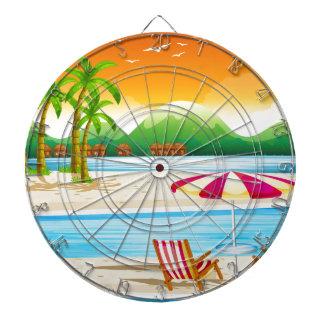 Beach scene with chairs and umbrella dartboard with darts