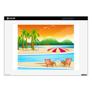 "Beach scene with chairs and umbrella decal for 15"" laptop"