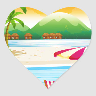 Beach scene with chairs and umbrella heart sticker