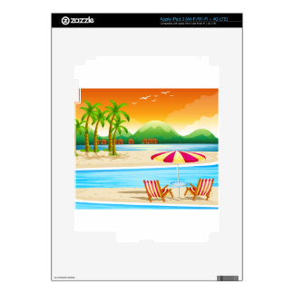 Beach scene with chairs and umbrella iPad 3 decals