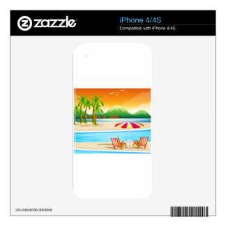 Beach scene with chairs and umbrella iPhone 4 decal
