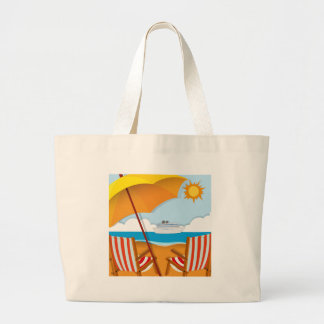Beach scene with chairs and umbrella large tote bag