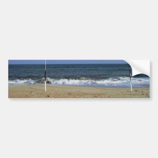 Beach Scene With Fishing Poles Bumper Sticker