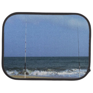 Beach Scene With Fishing Poles Car Floor Mat