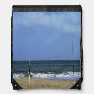 Beach Scene With Fishing Poles Drawstring Bag