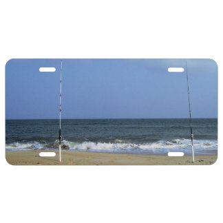 Beach Scene With Fishing Poles License Plate
