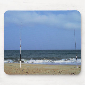 Beach Scene With Fishing Poles Mouse Pad